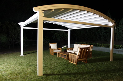 A canopy for garden is typically a free-standing awning supported by columns.