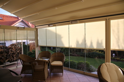 Slidewire Outdoor Roman Shades for an outdooor sitting area