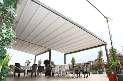 Electric Operation as standard. Aluminium structure with PVC fabric awning.