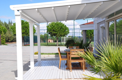 Canopies are frequently used over larger patios, sidewalks, or grassy areas.